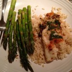 Pan Fried Tilapia over Brown Rice with Lemon Garlic Asparagus