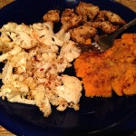 Jerk Chicken with Steamed Sweet Potatoes and Roasted Cauliflower